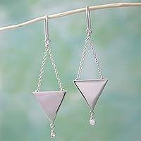 Sterling silver dangle earrings, 'Triangle Scales' - 925 Sterling Silver and Cubic Zirconia Triangle Earrings