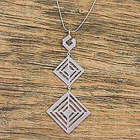 Sterling silver pendant necklace, 'Adventurous Squares' - 925 Sterling Silver Square Pendant Necklace from Mexico