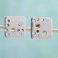 Sterling silver button earrings, 'Satellite Dots' - Square Sterling Silver Modern Button Earrings from Mexico