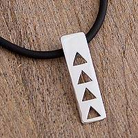 Sterling silver pendant choker, 'Triangle Celebration' - Sterling Silver Triangle Modern Pendant Choker from Mexico