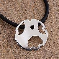 Sterling silver pendant choker, 'Circle of Happiness' - Sterling Silver Round Modern Pendant Choker from Mexico