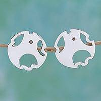 Sterling silver button earrings, 'Circle of Happiness' - Sterling Silver Circular Button Earrings from Mexico