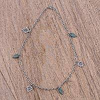 Sterling silver and ceramic charm necklace, 'Leaf Fall' - Sterling Silver and Ceramic Leaf Charm Necklace from Mexico