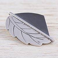 Sterling silver pendant, 'Leaf of Duality' - Sterling Silver Modern Leaf Pendant by a Mexican Artisan