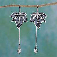 Cultured pearl dangle earrings, 'Leaf Drops' - Cultured Pearl Leaf Dangle Earrings by a Mexican Artisan