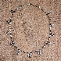 Sterling silver charm necklace, 'Charming Leaves' - 925 Sterling Silver Leaf Charm Necklace from Mexico
