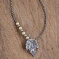 Cultured pearl pendant necklace, 'Leafy Glow' - Cultured Pearl and 925 Silver Pendant Necklace from Mexico