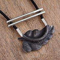 Sterling silver pendant necklace, 'Nature's Pergola' - Sterling Silver Modern Leaf Pendant Necklace from Mexico
