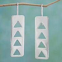 Sterling silver drop earrings, 'Triangle Celebration' - Modern Sterling Silver Triangular Drop Earrings from Mexico