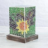 Glass mosaic accent lamp, 'Dragonfly Country' - Handmade Glass Mosaic Floral Dragonfly Lamp from Mexico