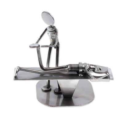 Recycled metal figurine, 'Chiropractic' - Handmade Chiropractic Recycled Metal Figurine from Mexico
