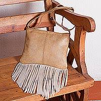 Leather sling handbag, 'Fringe Fervor' - Light Brown Fringed Leather Sling Handbag from Mexico