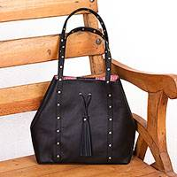 Leather shoulder bag, 'Confidence' - Black Leather Shoulder Bag with Red Striped Lining