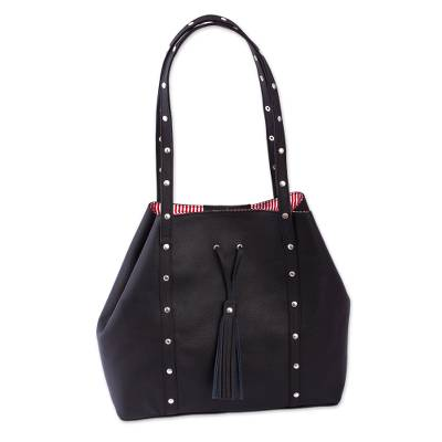 Black Leather Shoulder Bag with Red Striped Lining