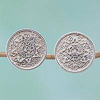Sterling silver button earrings, 'Aztec History' - Mexican Archaeology Aztec Calendar Earrings in Silver 925