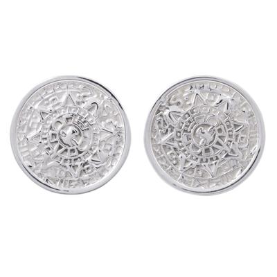 Mexican Archaeology Aztec Calendar Earrings in Silver 925