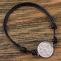 Sterling silver pendant bracelet, 'Aztec History' - Mexico Sterling Silver Aztec Calendar Adjustable Bracelet