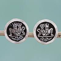 Sterling silver stud earrings, 'Maya Chac Mool'