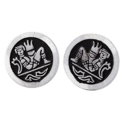 Sterling silver stud earrings, 'Maya Chac Mool' - Mexican Handcrafted Enameled Sterling Silver Stud Earrings