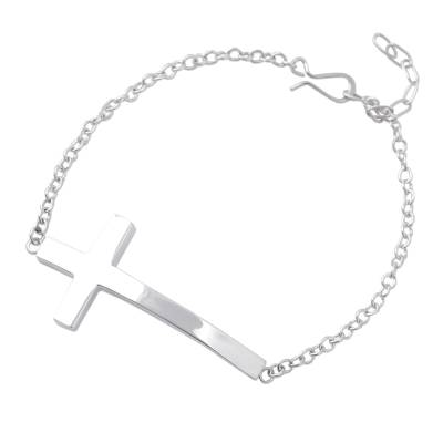 Sterling silver pendant bracelet, 'My Faith' - Modern Cross Bracelet Handcrafted of Taxco Sterling Silver