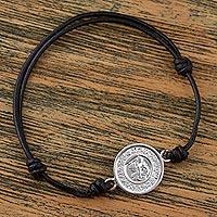 Sterling silver pendant bracelet, 'Tzolk'in Maya Calendar' - Sterling Silver and Black Cord Mayan Calendar Bracelet