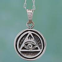 Sterling silver pendant necklace, 'Eye of Providence' - Handcrafted Sterling Silver All Seeing Eye Necklace