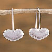Sterling silver drop earrings, 'Love from the Heart' - Handcrafted Taxco Sterling Silver Heart Theme Earrings