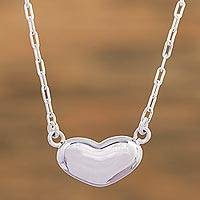 Sterling silver pendant necklace, 'Love from the Heart' - Handcrafted Taxco Sterling Silver Heart Theme Necklace