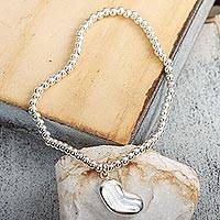 Sterling silver charm bracelet, 'Love from the Heart'