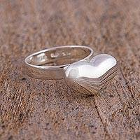 Sterling silver cocktail ring, 'Love from the Heart' - Modern Handcrafted Taxco Sterling Silver Heart Theme Ring