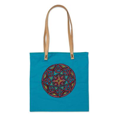 Cotton Tote Bag with Embroidered Mandala from Mexico