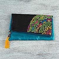 Silk clutch, 'Colors of Night' - Embroidered Silk Mexican Clutch in Black with Floral Motifs