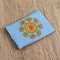 Cotton cell phone case, 'Flower Sky' - Handcrafted Cotton Floral Cell Phone Case in Sky Blue