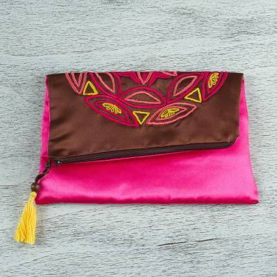Silk clutch, 'Mahogany Mandala' - Embroidered Silk Floral Clutch in Mahogany from Mexico