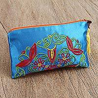 Silk clutch, 'Cerulean Brilliance' - Embroidered Silk Floral Clutch in Cerulean from Mexico