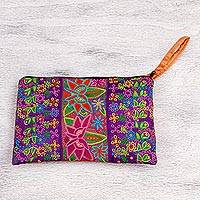 Silk wristlet, 'Flower Kaleidoscope' - Multicolored Embroidered Silk Floral Wristlet from Mexico