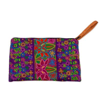 Multicolored Embroidered Silk Floral Wristlet from Mexico