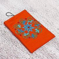 Cotton cell phone case, 'Mandarin Dream' - Embroidered Cotton Floral Cell Phone Case in Mandarin
