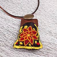 Silk pendant necklace, 'Flower of Abundance' - Silk and Leather Adjustable Flower Necklace from Mexico