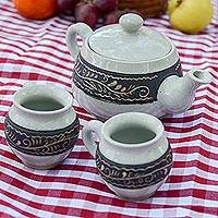 Ceramic teapot and cups, 'Autlan Autumn' (set for two) - Handcrafted Floral Ceramic Tea Set for Two from Mexico