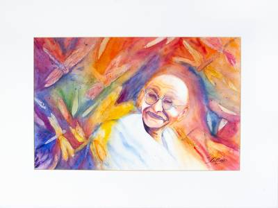'Illuminated' - Colorful Signed Expressionist Painting of Gandhi from Mexico