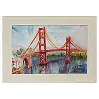 'San Francisco (Golden Gate)' - Signed Painting of the Golden Gate Bridge from Mexico