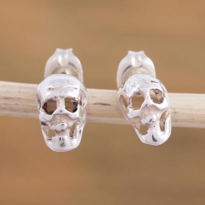 Sterling Silver Stud Earrings Shimmering Skulls 925 Skull