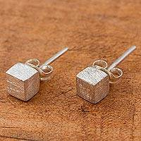 Sterling silver stud earrings, 'Cubic Elegance' - Modern Mexican Sterling Silver Stud Earrings