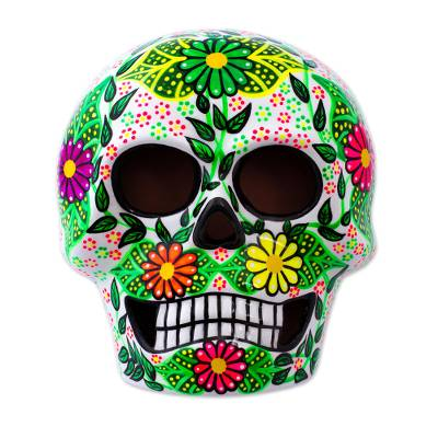 Ceramic mask, 'Skeleton Fiesta' - Handcrafted Floral Ceramic Skeleton Mask