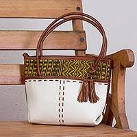 Palm accent leather shoulder bag, 'Ivory Fusion' - Handcrafted Leather and Palm Shoulder Bag in Ivory