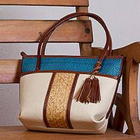 Palm accent leather shoulder bag, 'Pale Beige Intersection' - Handcrafted Leather and Palm Shoulder Bag in Cerulean