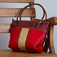 Palm accent leather shoulder bag, 'Crimson Intersection' - Handcrafted Leather and Palm Shoulder Bag in Crimson