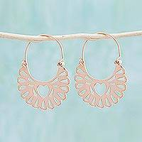 Rose gold plated hoop earrings, 'Joyous Heart' - 18k Rose Gold Plated Heart Hoop Earrings from Mexico