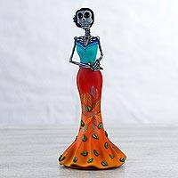 Ceramic sculpture, 'Parakeet Catrina' - Hand Painted Catrina Sculpture in Tangerine and Turquoise